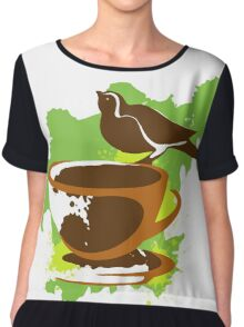 Bird on a cup of coffee Chiffon Top