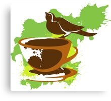Bird on a cup of coffee Canvas Print