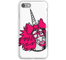 crazy student funny nerd geek hornbrille unicorn smart girl female mare pink girl bow comic cartoon unicorn iPhone Case/Skin