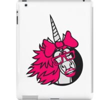 crazy student funny nerd geek hornbrille unicorn smart girl female mare pink girl bow comic cartoon unicorn iPad Case/Skin
