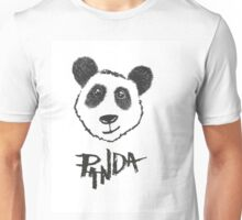 Cute Black and White Hand Drawn Panda Typography Unisex T-Shirt