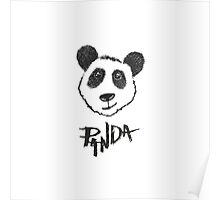 Cute Black and White Hand Drawn Panda Typography Poster
