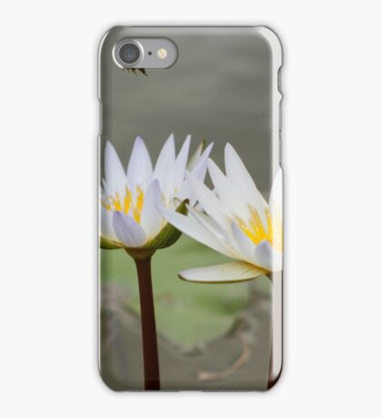 Bee Flying Over Water Lilies  iPhone Case/Skin
