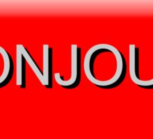 "Bouton rouge rectangulaire ""Bonjour!""  Sticker"