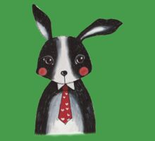 Black and White Rabbit Wearing a Neck Tie Kids Tee