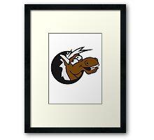 crazy funny fun face head hole comic cartoon laugh silly pony stallion Framed Print