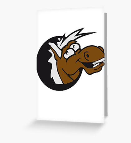 crazy funny fun face head hole comic cartoon laugh silly pony stallion Greeting Card