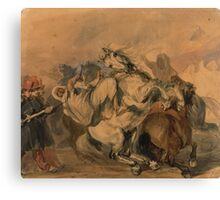 """Piotr Michałowski, """"An Encounter of the French Infantry with Arab Cavalry"""",  Canvas Print"""