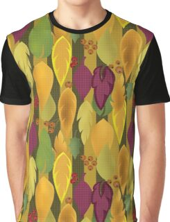 Seamless background pattern with colorful autumn leaves and berry illustration Graphic T-Shirt