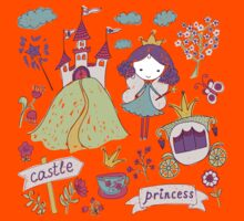 Fairy princess and her castle Kids Tee