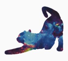 Galaxy Stretching Cat One Piece - Short Sleeve