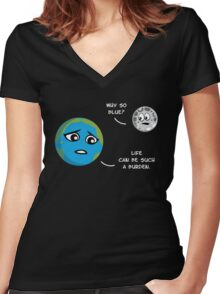 Earth & Moon Women's Fitted V-Neck T-Shirt