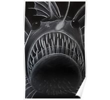 Angler Fish White Pencil Design Poster