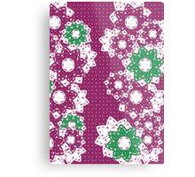 Polka Dot and Flowers Decoration Metal Print
