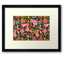 Flowers and bunnies seamless pattern Framed Print