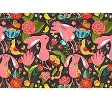 Flowers and bunnies seamless pattern Photographic Print