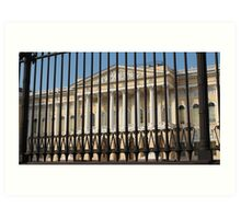 high iron fence in front of palace Art Print