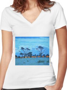 West Cork Trees, Ireland Women's Fitted V-Neck T-Shirt