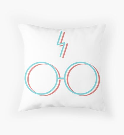 3D Lightning Bolts and Glasses Throw Pillow