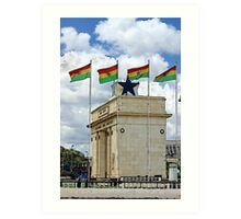 Ghana Flag and Black Star Gate of Independence Art Print