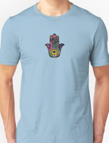 Colorful Hand Drawn Hamsa Hand an Floral Drawings Unisex T-Shirt