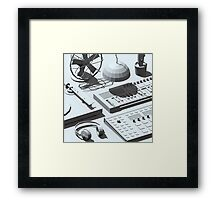 Low Poly Studio Objects 3D Illustration Grey Framed Print