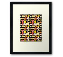 Seamless graphic pattern with delicious cookies Framed Print