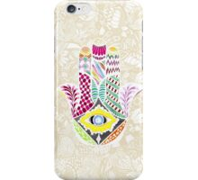 Artistic Hand Drawn Hamsa Hand an Floral Drawings iPhone Case/Skin