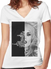 Katya Text Portrait Women's Fitted V-Neck T-Shirt