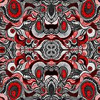 Black , Red and white pattern by Sviatlana Kandybovich