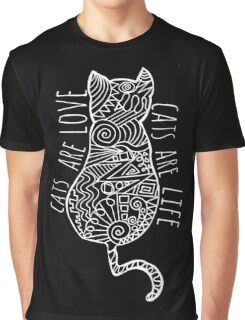 cats are love, cats are life (white)  Graphic T-Shirt