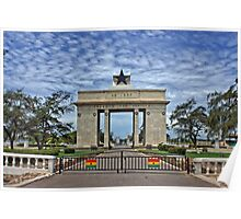 Ghana, Black Star Gate, Accra and Ghana Flags Poster