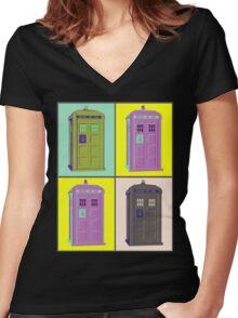 TIMEY WIMEY WARHOL TARDIS 1 Women's Fitted V-Neck T-Shirt