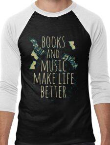 books and music make life better #1 Men's Baseball ¾ T-Shirt