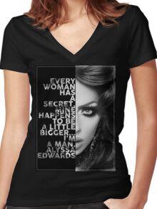 Alyssa Edwards Text portrait Women's Fitted V-Neck T-Shirt