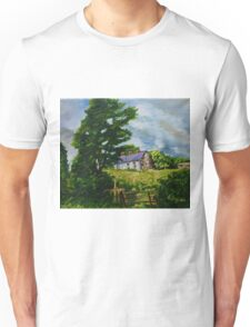 'Summer Silence, Deserted Cottages, Rural Downpatrick, County Down' | Oil and acrylic on Canvas, 12 x 16 inches Unisex T-Shirt