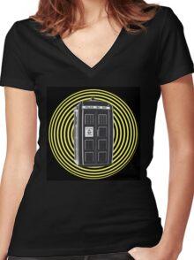 DARK TARDIS TYPE 40 Women's Fitted V-Neck T-Shirt