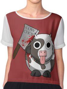 Cow Chop Bloody Knife BG Chiffon Top