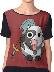 Cow Chop Shovel BG Chiffon Top