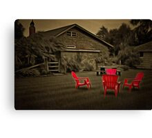 The Red Chairs In Neskowin! Canvas Print