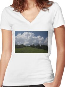A Little Road to the Clouds Women's Fitted V-Neck T-Shirt