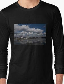Reflecting on Boats and Clouds - Port Perry Marina Long Sleeve T-Shirt
