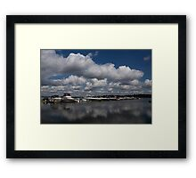 Reflecting on Boats and Clouds - Port Perry Marina Framed Print