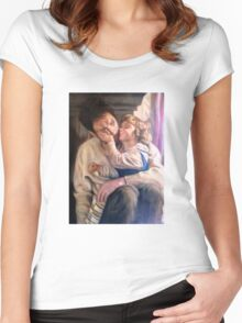 portrait of father and child Women's Fitted Scoop T-Shirt