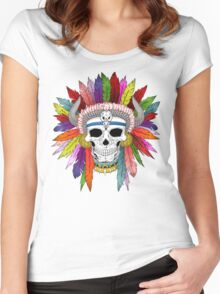 Shamanistic skull Women's Fitted Scoop T-Shirt