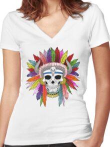 Shamanistic skull Women's Fitted V-Neck T-Shirt