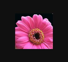 Stunning Pink Gerbera Daisy on Black Background Womens Fitted T-Shirt