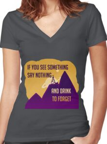 Welcome To Night Vale -Drink to Forget  Women's Fitted V-Neck T-Shirt