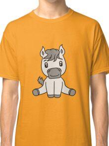 sweet cute sitting comic cartoon pony horse pferdchen kawaii child girl baby foal Classic T-Shirt