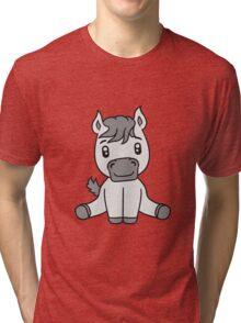 sweet cute sitting comic cartoon pony horse pferdchen kawaii child girl baby foal Tri-blend T-Shirt
